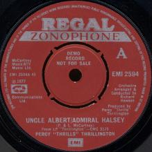 """1977uk Percy """"Thrills"""" Thrillington -Uncle Albert / Admiral Halsey / Eat At Home -promo- EMI 2594 - pic 1"""