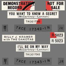 BILLY J. KRAMER WITH THE DAKOTAS - DO YOU WANT TO KNOW A SECRET ⁄ I'LL BE ON MY WAY - R 5023 - UK - PROMO - pic 1