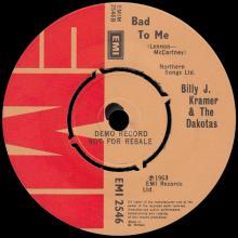 BILLY J. KRAMER & THE DAKOTAS - LITTLE CHILDREN ⁄  BAD TO ME - EMI 2546 - UK - PROMO - pic 5