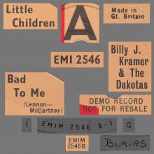 BILLY J. KRAMER & THE DAKOTAS - LITTLE CHILDREN ⁄  BAD TO ME - EMI 2546 - UK - PROMO - pic 4