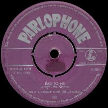 BILLY J. KRAMER WITH THE DAKOTAS - BAD TO ME ⁄ I CALL YOUR NAME - R 5049 - HOLLAND - pic 1