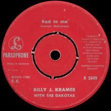 BILLY J. KRAMER WITH THE DAKOTAS - BAD TO ME ⁄ I CALL YOUR NAME - R 5049 - SWEDEN - 2 ORANGE SLEEVE - pic 1