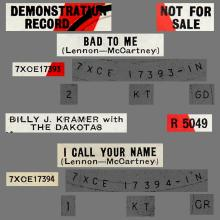 BILLY J. KRAMER WITH THE DAKOTAS - BAD TO ME ⁄ I CALL YOUR NAME - R 5049 - UK - PROMO - pic 1