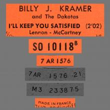 BILLY J. KRAMER WITH THE DAKOTAS - I'LL KEEP YOU SATISFIED - SO 10118 - FRANCE - JUKE-BOX - pic 1