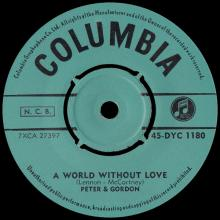 PETER AND GORDON - A WORLD WITHOUT LOVE - FINLAND - 45-DYC 1180 - pic 1