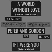 PETER AND GORDON - A WORLD WITHOUT LOVE - HOLLAND - DB 7225  - pic 1