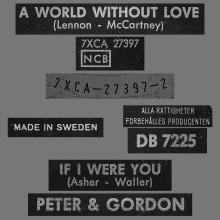 PETER AND GORDON - A WORLD WITHOUT LOVE - SWEDEN - DB 7225 - RED SLEEVE - pic 1