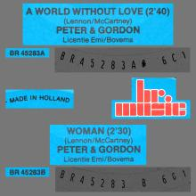 PETER AND GORDON - A WORLD WITHOUT LOVE - WOMAN - HOLLAND - BR. MUSIC - BR 45283 - 1989 - pic 1