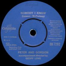 PETER AND GORDON - NOBODY I KNOW - DB 7292 - DENMARK - pic 1