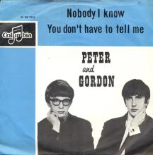 PETER AND GORDON - NOBODY I KNOW - DB 7292 - HOLLAND - pic 1