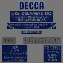 THE APPLEJACKS - LIKE DREAMERS DO - SWEDEN - DECCA - FR 13793 - pic 1