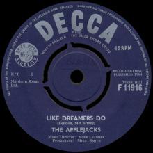 THE APPLEJACKS - LIKE DREAMERS DO - UK VARIATION 2 - F.11916 - pic 1