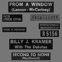 BILLY J. KRAMER WITH THE DAKOTAS - FROM A WINDOW - R 5156 - DENMARK - pic 1