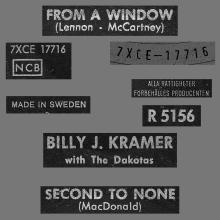 BILLY J. KRAMER WITH THE DAKOTAS - FROM A WINDOW - R 5156 - SWEDEN - pic 1