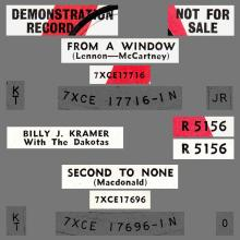 BILLY J. KRAMER WITH THE DAKOTAS - FROM A WINDOW - R 5156 - UK - PROMO - pic 1