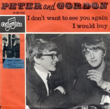 PETER AND GORDON - I DON'T WANT TO SEE YOU AGAIN - HOLLAND - DB 7356 - ORANGE - pic 1