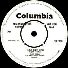 1964 10 30 - ALMA COGAN - I KNEW RIGHT AWAY - DB 7390 - UK - PROMO - pic 5