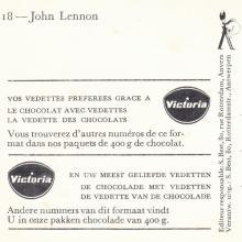 1964 THE BEATLES PHOTO - POSTCARD BELGIUM - CHROMO VICTORIA 18 JOHN LENNON - 8X14,5 - pic 1