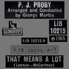 P.J. PROBY - THAT MEANS A LOT - BELGIUM - RECORD  UK  - LIBERTY - LIB10215 - pic 1