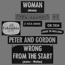 PETER AND GORDON - WOMAN - DB 7834 - HOLLAND - pic 1