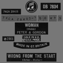PETER AND GORDON - WOMAN - DB 7834 - UK - pic 1