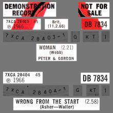 PETER AND GORDON - WOMAN - DB 7834 - UK -PROMO - pic 1