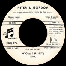 PETER AND GORDON - WOMAN - SCMQ 1924 - ITALY - JUKE BOX SERVICE - pic 1