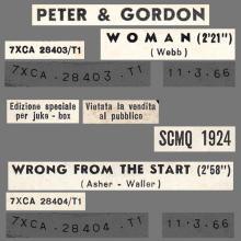 PETER AND GORDON - WOMAN - SCMQ 1924 - ITALY - JUKE-BOX - pic 1