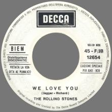 THE ROLLING STONES - WE LOVE YOU - ITALY - 45-F/JB 12654 - XDR - JUKE BOX PROMO 41128 - pic 1