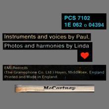 1970 04 17 PAUL McCARTNEY - McCARTNEY - PCS 7102 - 1E 062 o 04394 - APPLE - UK - pic 1
