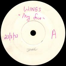 """1973 03 23 - WINGS - MY LOVE ⁄ THE MESS - UK 7"""" TEST PRESSING - pic 1"""