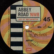 """1978 09 09 - WINGS - LONDON TOWN - ABBEY ROAD EMI - 7"""" ONE SIDED - ACETATE - pic 1"""