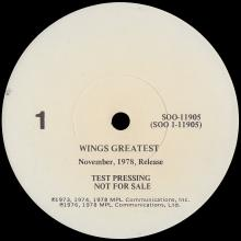 USA 1978 11 00 WINGS GREATEST - SOO-11905 - USA TEST PRESSING - pic 1