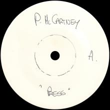 "1986 07 14 - PAUL MCCARTNEY - PRESS - UK 7"" TEST PRESSING - ONE SIDED - pic 1"