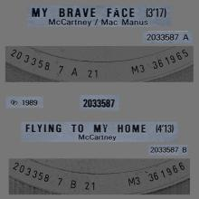 """1989 05 08 - PAUL MCCARTNEY - MY BRAVE FACE ⁄ FLYING TO MY HOME - FRANCE - 7"""" TEST PRESSING - pic 1"""
