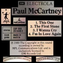 1989 07 17 THIS ONE - PAUL McCARTNEY DISCOGRAPHY - CDP 560 20 34463 - 5 099920 344634 - AUSTRIA - 3 INCH CD - pic 1