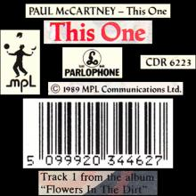 1989 07 17 THIS ONE - PAUL McCARTNEY DISCOGRAPHY - CDR 6223 - 5 099920 344627 - UK - pic 1