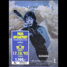 1993 PAUL McCARTNEY THE NEW WORLD TOUR - TICKET 1993 10 17 GENT FLANDERS EXPO - pic 1