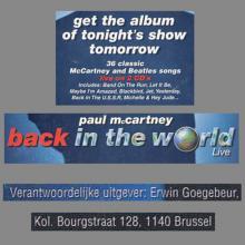 2003 PAUL MCCARTNEY BACK IN THE WORLD 2003  - FLYER - pic 1