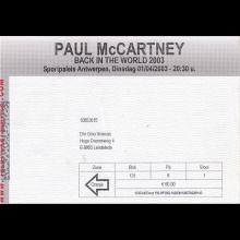2003 PAUL McCARTNEY BACK IN THE WORLD - TICKET 2003 04 01 SPORTPALEIS ANTWERPEN - pic 1