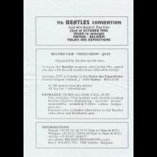 FANCLUB MAIL FLYER - BEATLES DAY MONS - NAMUR 1994 10 22 - BELGIUM - pic 1