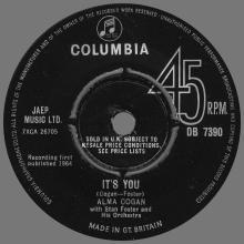 ALMA COGAN - I KNEW RIGHT AWAY - UK - DB 7390 - 1964 10 30 - pic 1