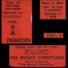 1970sp Come And Get It - The Magic Christians - promo- 45 UR 2558  - pic 1