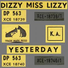 BEATLES DISCOGRAPHY CONGO - 1965 10 00 - DP 563 - DIZZY MISS LIZZY / YESTERDAY - pic 1
