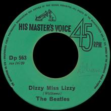 BEATLES DISCOGRAPHY CONGO - 1965 10 01 - DP 563 - DIZZY MISS LIZZY / YESTERDAY  - pic 1