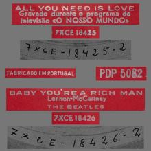 BEATLES DISCOGRAPHY PORTUGAL 020 - ALL YOU NEED IS LOVE / BABY YOU' RE A RICH MAN - PDP 5082 - pic 1