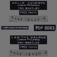 BEATLES DISCOGRAPHY PORTUGAL 030 B - HELLO GOODBYE / I AM THE WALRUS - PDP 5083 - pic 1