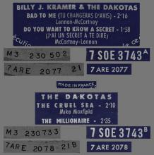 BILLY J. KRAMER WITH THE DAKOTAS - BAD TO ME ⁄ DO YOU WANT TO KNOW A SECRET - FRANCE - SOE 3743 - EP - pic 1