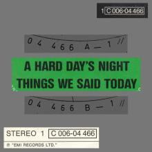 A HARD DAY'S NIGHT - THINGS WE SAID TODAY - 1976 / 1987 - 1 C 006-04 466 - 2 - RECORDS  - pic 1