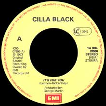CILLA BLACK - IT'S FOR YOU ⁄ LOVE OF THE LOVED - HOLLAND - 1A 006-07506 - pic 1